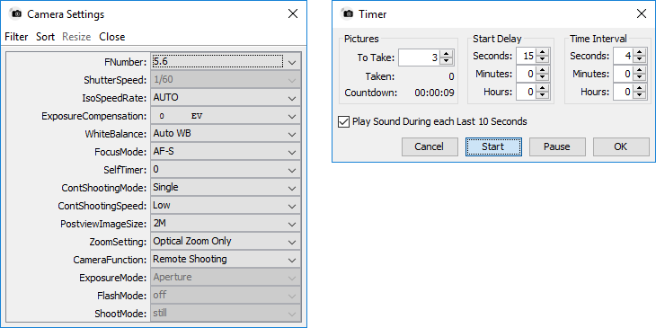 Settings and timer